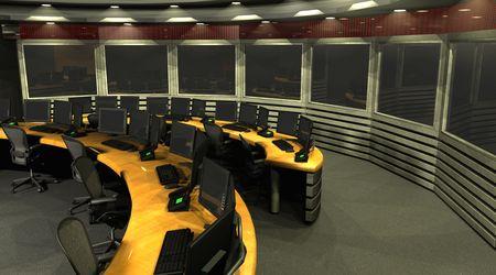 3D render van een surveillance kamer.