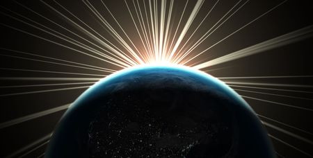 3D render of the earth with sunlight rays photo