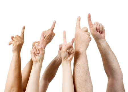 Fingers pointing in one direction (white background)
