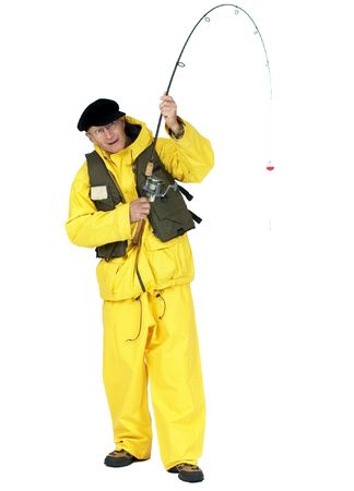 Fisherman with fishing rod. Add whatever you like to the end of the line.