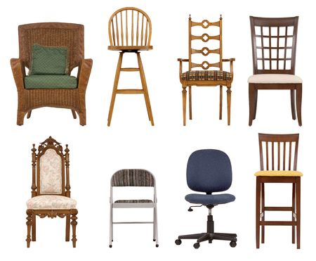 antique chair: Assortment of chairs isolated of white background