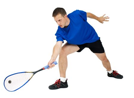 Squash player on white background