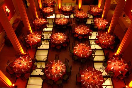 결혼 피로연을위한 테이블에 상위 뷰 스톡 콘텐츠