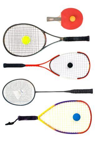 racquetball: Tenis de mesa, tenis, squash, badminton y racquetball raquetas istolated en fondo blanco.  Foto de archivo