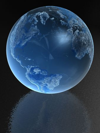 Blue Glass globe with reflection photo