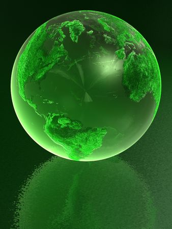 glass reflection: Green glass globe with reflection Stock Photo