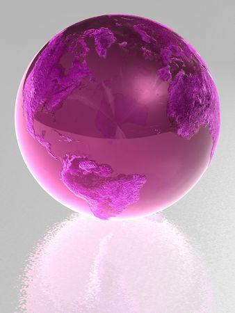 Pink glass globe with reflection photo