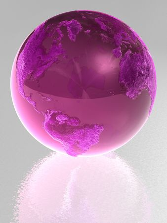 glass reflection: Pink glass globe with reflection Stock Photo