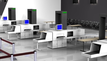 airport security: 3d Render of luggage scan Stock Photo
