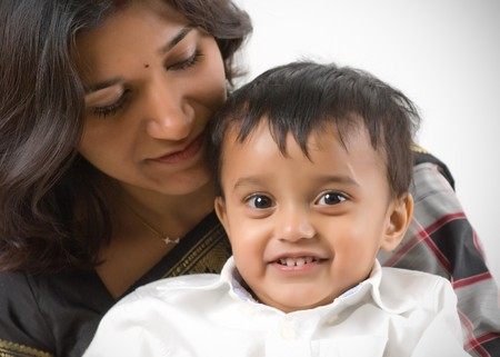 indian ethnicity: Mother and son portrait  - Indian Ethnicity