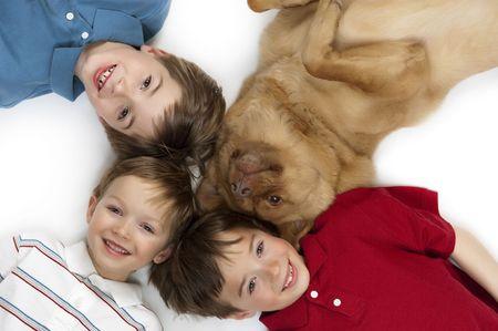 Drei glückliche Jungen stellen mit ihrem Hund