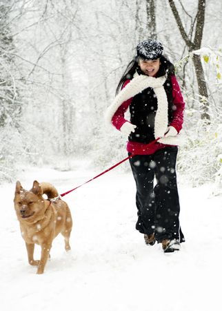 Woman walking a dog during snow fall
