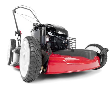 흰색 배경에 빨간색 잔디 깎는 기계