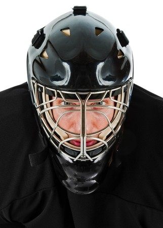 Ice hockey goalie portrait. Photo on white background Reklamní fotografie
