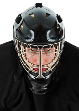 hockey sobre hielo: Retrato de arquero de hockey sobre hielo. Foto sobre fondo blanco