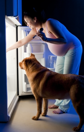 Pregnat woman and her pet looking for food in the refrigerator photo