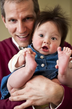 Father and daughter close-up. Focus on baby. Stock Photo - 8776068