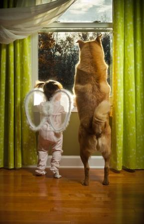 Baby-Mädchen und Hund beobachten draußen vor dem Fenster