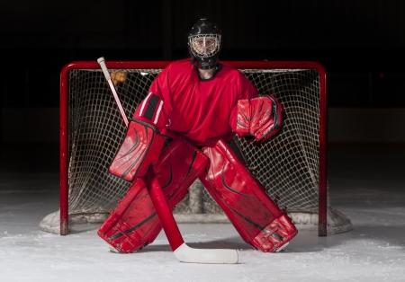 hockey sobre hielo: Portero de hockey sobre hielo en frente de una red de la meta