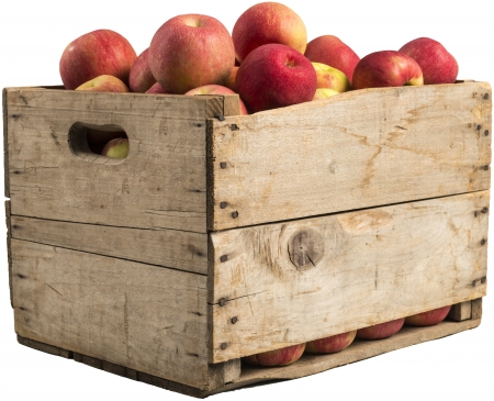 crate: crate full of apples isolated on white background