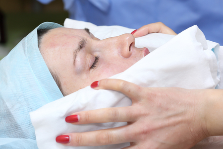 sooth: After treatment cooling procedure Stock Photo