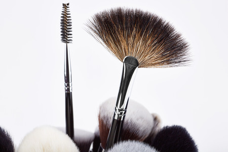 grooming product: Makeup brushes set. White background.