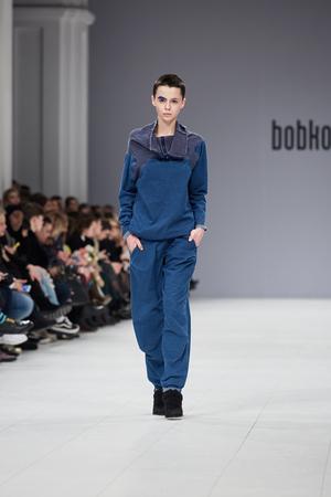Kyiv, Ukraine - February 4, 2017: Models walk the runway during fashion show by Kristina Bobkova AutumnWinter 201718 as part of Ukrainian Fashion Week 2017.