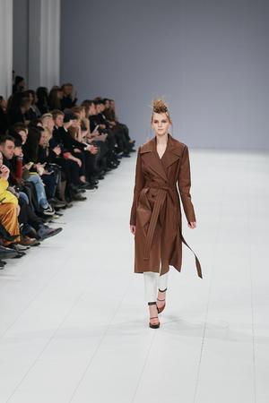 Kyiv, Ukraine - February 4, 2017: Models walk the runway during fashion show by Elena Burenina AutumnWinter 201718 as part of Ukrainian Fashion Week 2017.