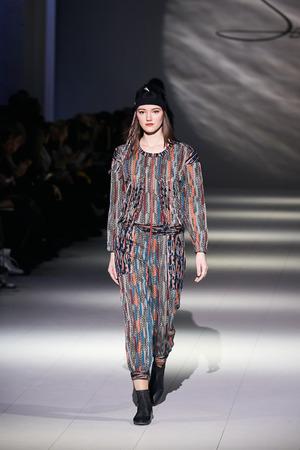 Kyiv, Ukraine - February 5, 2017: Models walk the runway during fashion show by Serebrova AutumnWinter 201718 as part of Ukrainian Fashion Week 2017.