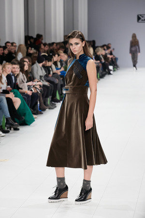 Kyiv, Ukraine - February 5, 2017: Models walk the runway during fashion show by VOROZHBYT&ZEMSKOVA AutumnWinter 201718 as part of Ukrainian Fashion Week 2017.