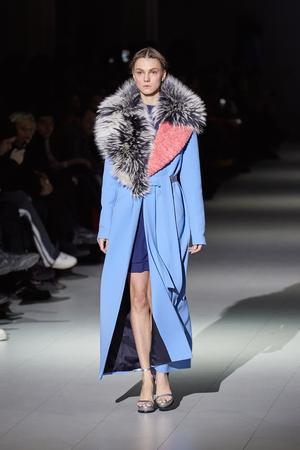 Kyiv, Ukraine - February 5, 2017: Models walk the runway during fashion show by AYSINA AutumnWinter 201718 as part of Ukrainian Fashion Week 2017.