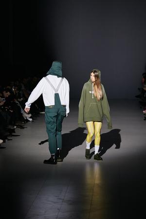 couture: Kyiv, Ukraine - February 5, 2017: Models walk the runway during fashion show by Dastish Fantastish AutumnWinter 201718 as part of Ukrainian Fashion Week 2017.