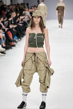 Kyiv, Ukraine - February 5, 2017: Models walk the runway during fashion show by Dastish Fantastish AutumnWinter 201718 as part of Ukrainian Fashion Week 2017.
