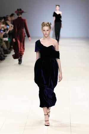 Kyiv, Ukraine - February 6, 2017: Models walk the runway during fashion show by ANNAMUZA AutumnWinter 201718 as part of Ukrainian Fashion Week 2017. Editorial