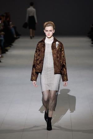 Kyiv, Ukraine - February 6, 2017: Models walk the runway during fashion show by SLAVA AutumnWinter 201718 as part of Ukrainian Fashion Week 2017.