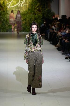 Kyiv, Ukraine - February 7, 2017: Models walk the runway during fashion show by Iryna Dil AutumnWinter 201718 as part of Ukrainian Fashion Week 2017.