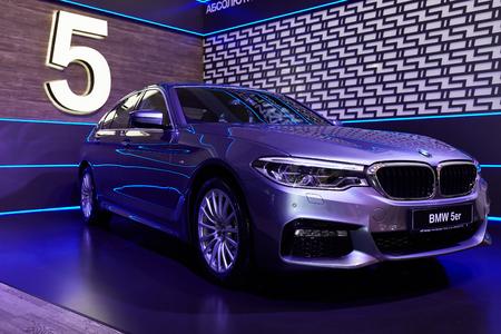 Kyiv, Ukraine - February 5, 2017: BMW5er Display as Part of Ukrainian Fashion Week 2017. Editorial