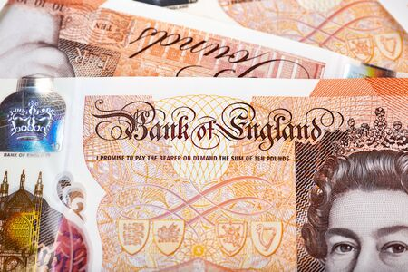 Close up photo on 10 pounds banknote.