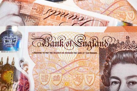 Close up photo on  10 pounds banknote. Archivio Fotografico