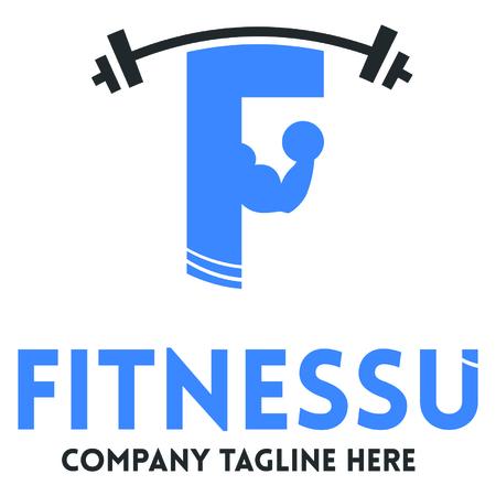 female silhouettes: Fitness club logo template with male and female silhouettes with dumbbells vector illustration