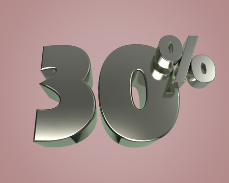Metal glossy 3D model numbers 30 for banner poster billboard discount. 3d render