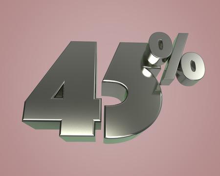 Metal glossy 3D model numbers 45 for banner poster billboard discount. 3d render