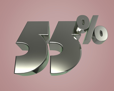 Metal glossy 3D model numbers 55 for banner poster billboard discount. 3d render Stock Photo