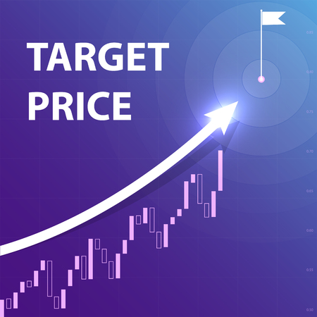 A white arrow indicates the purpose of the price movement. Direction of upward movement of prices trading quotes on the flag in the center of the circle target. Vector Banco de Imagens