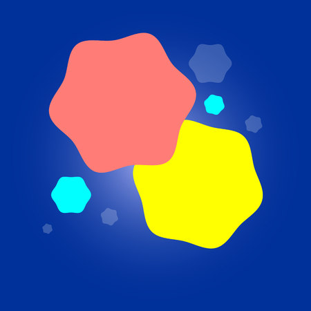 Beautiful bright background for a banner Abstract geometric colored shapes yellow pink blue color on a gradient background. Vector