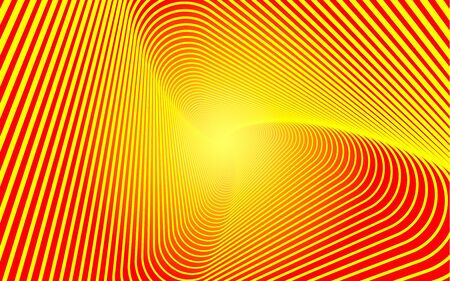 Three-pointed figure, a whirlwind, a spiral of lines on a gradient background. Smooth pattern of many lines on red orange background. Vector EPS