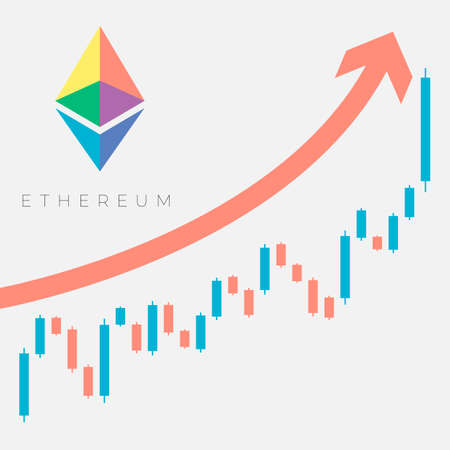 Color symbol sign of virtual digital crypto currency Ethereum on a light background with text on the background of a growing graph of sales of the value of the currency and an arrow pointing up