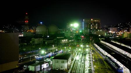 nagasaki: Nagasaki station at night Editorial