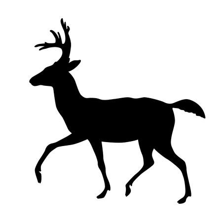 deer vector illustration silhouette black side view