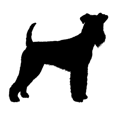 airedale: Airedale dog illustration black silhouette